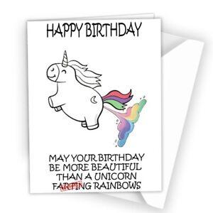 BIRTHDAY CARD Friend Sister Daughter Wife Girlfriend Funny Happy Unicorn GC548