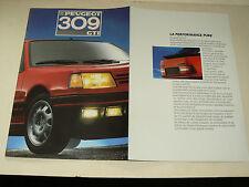 Catalogue PEUGEOT 309 GTI  1987 auto car prospectus brochure prospekt