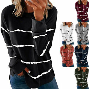 Women's Casual Long Sleeve Loose Blouse Round Neck T-Shirt Tee Tops Plus Size