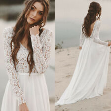Boho Beach Wedding Dresses Long Sleeve A line Vintage Unique Lace Open Back 2019