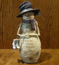 "Birch Hearts Snowmen Figurines #81121 ""May The Season Bring Joy"" BARB McDONALD"