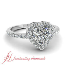 Halo Style Heart Shaped Diamond Simple Engagement Ring In White Gold 0.85 Ctw