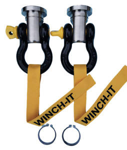 PAIR  SWIVEL RECOVERY EYE 36mm stainless steel for winch bumper shackle circlip