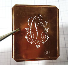 SO S O monogram stencil embroidery antique copper metal initials letters vintage
