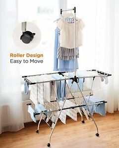 Clothes Drying Rack Large Airing Area Folding Hanger Laundry Organizer w/ Roller