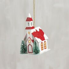 Lighted Christmas Church~Bottle Brush Bristle Trees Ornament~Vintage/Primitiv e