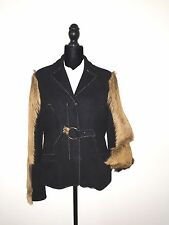 $2490 JUST CAVALLI BLACK SUEDE LEATHER & FUR SLEEVES JACKET sz 46 ITALY US 12-14