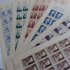 FEUILLE SHEET TIMBRE CÉLÉBRITÉS N°945/950A x25 1953 NEUF ** MNH COTE 1750€