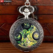 Antique Space Time Steampunk Pocket Watch Vintage Pendant Necklace Chain Gift