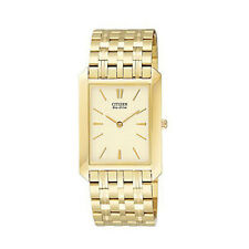 Citizen Mens Gold Stainless Steel Eco-drive Watch Sapphire Crystal Glass