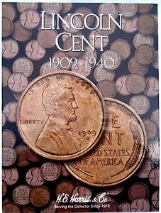 HE Harris Lincoln Cent #1 Coin Folder 1909-1940, Penny Album Book #2672