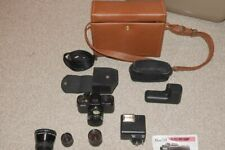 PENTAX AUTO 110 SUPER CAMERA, FOUR LENSES, FLASH & CASE