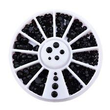 Black Nail Art Round Glitter Rhinestones Plate Fingernail Decor Wheel Plate