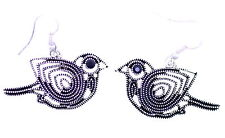 Vintage style antique silver and black cutout wire bird dangle earrings