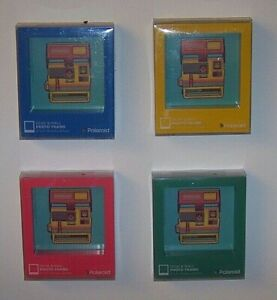Red, Blue, Yellow, Tur Gloss Finish Wood Desk/Wall Picture Frame Holds 4x4 Photo