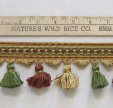 "Tassel Trim Dark Gold Green Red Sewing Crafts 619"" Long"