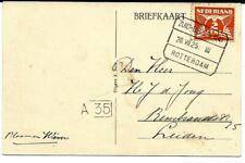 Tramblokstempel Zuid-Beijerland III AK Numansdorp 1925 naar Leiden