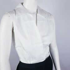 Coldwater Creek Sleeveless Blouse Size L White Button Down Collared Top Shirt