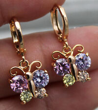18K Yellow Gold Filled- Butterfly Amethyst Citrine Pink Topaz Pary Hoop Earrings
