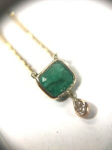 Natural Emerald & Diamond 14K Yellow Gold Floating Solitaire Necklace
