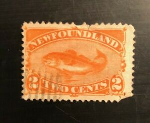 Stamps Canada Newfoundland Sc48 2c red orange Codfish 1896 issue see detail