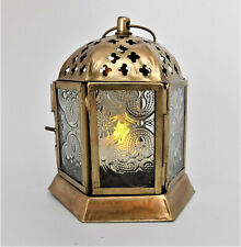 Arabic Style T-Lite Lantern Moroccan Brass & Glass Candle Lamp with Door Decor