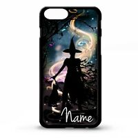 Wicked Witch Black cat magic silhouette personalised name art phone case cover