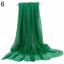 2 pcs Women Ladies Long Chiffon scarf cover wrap 162cm x 70cm Nylon Dark Green
