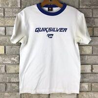 Vintage Quicksilver T Shirt Size Small Blue White Surf Skate Worn USA Made Vtg