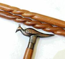 Nautical Antique Brass Handmade Designer Peacock Spiral Black walking stick