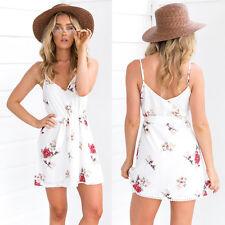 Summer Women's Casual Spaghetti Straps Cami V-neck Wrap Floral Short Mini Dress