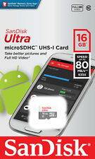 Micro SD Card Sandisk 16GB MicroSDHC Class10 MobilePhone Tablet Memory Card 80MB