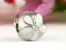 925 SILVER FINISH WHITE DAISY CLIP STOPPER CHARM BEAD