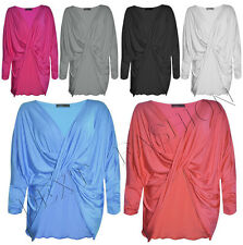 NEW LADIES FRONT CROSS WRAP OVER BAGGY FULL SLEEVE PLAIN JUMPERS TOP S/M,M/L