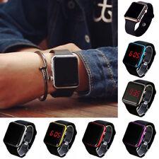 New Digital LED Rectangular Screen Silicon Band Wrist Watch 4 Men Women Kids UK