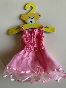 Build-A-Bear Workshop pink strappy fairy wings tutu dress