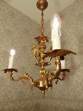 antik 3 Fl  Kronleuchter Lüster  Bronze Gold Engel  Frankreich Barock ca.1920