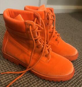 Neon Fluoro/Fluorescent Orange Strobe Rider Combat Lace Up Boots Size Aus 7