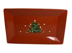 "Waechtersbach Christmas Tree 12.75"" Red Rectangle Sandwich Cookie Serving Tray"