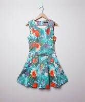 Honey & Beau Size 12 Bright floral A Line Fit and flare Tea Dress with pockets