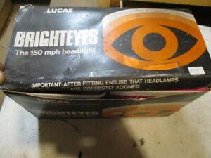 NOS Lucas Brighteyes Sealed Beam Headlamps, Austin Healey 100 3000 MGB TR6 Mini