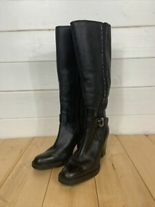 Black Leather Winter Tall Boots Faux Sherling Lined Heeled Size 41 7.5 UK