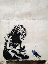 "Banksy, Girl with Bluebird, Graffiti Art, Giclee Canvas Print, 8""x10"""