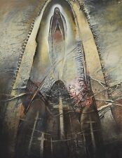 Sharon Kopriva Catholic Imagery Pastel Mixed Media Painting 1986 Houston Artist