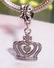 Princess Cross Crown Queen Royalty Dangle Charm for  European Bead Bracelets