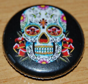 SUGAR SKULL 1 INCH/25MM BUTTON BADGE DAY OF THE DEAD TATTOO VINTAGE MEXICO