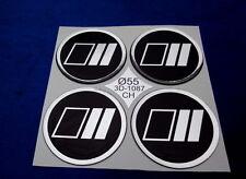 (1087) 4x Chrom-Schwarz Embleme für Felgendeckel Kappen 55 mm Silikon Aufkleber