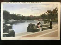 Vintage Postcard>1923>Lake and Boat House>Central Park>New York City