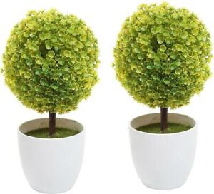 Decorative Artificial Yellow Topiary Plant in White Home Planter Pots, Pack of 2