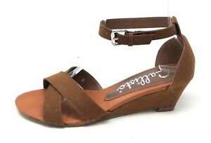 Callisto Womens Strobe Wedge Sandal Ankle Strap Sandal Brown Suede Size 6 M US